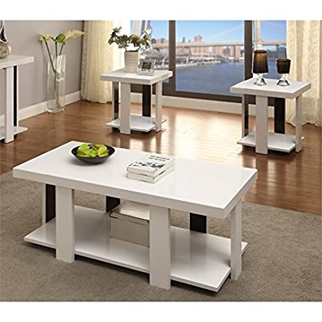 amazon com furniture of america haven 3 piece coffee table set in