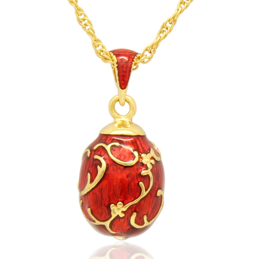 MYD Bijoux Main Fleur émaillée Floral russe Fabergé Style Oeuf Pendentif Collier avec chaîne MYD Jewelry Laiton Hongkong MYD Jewelry Co. Limited MBP-00241