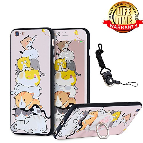 iPhone 6 Case, iPhone 6S Case Screen Protector Tempered Glass Film with Holder Ring Kickstand, 360 Full Body Nice Thin Slim Hard Cartoon Kitty Cats Cover Lanyard Shell Skin for - Big Cat Case Protector