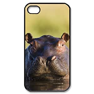 LZHCASE Diy Customized hard Case Hippo For Iphone 4/4s [Pattern-1]