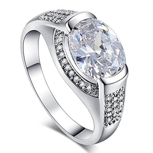 Veunora 925 Sterling Silver Created White Topaz Filled Gorgeous Ring for Women - Amber White Ring