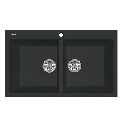 Plados Lavello Cucina incasso 2 vasche L 86cm Black Matt AM8620 UG70 ...
