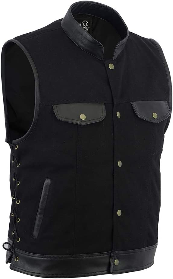 Men SOA Biker side lace leather trim denim waistcoat vest UK Stock free shipment Small black