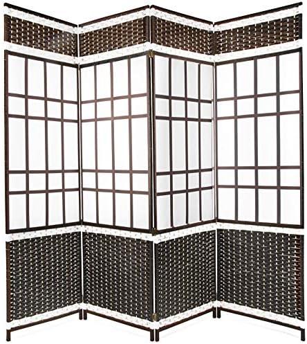 Belvadora Room Divider Screen Handmade 6 Panel Wood Mesh Black White Woven Design Folding Portable Partition Privacy Screen Room Separator