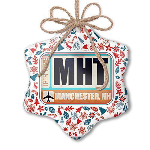 NEONBLOND Christmas Ornament Airportcode MHT Manchester, NH Red White Blue Xmas (Manchester Nh Christmas)