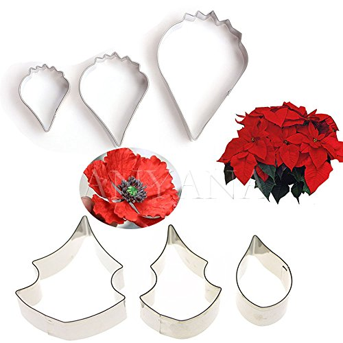Anyana METAL Icing biscuit cookie Cutters Poppy Christmas Flower Petals