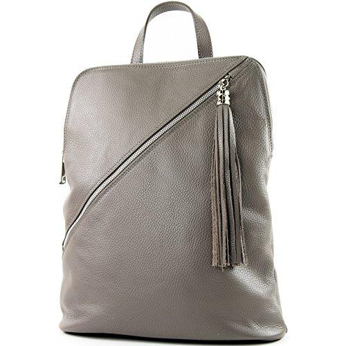 de de mochila italianas bolsa de modamoda T161 3en1 cuero T141 Beigegrau señoras BRqYgg