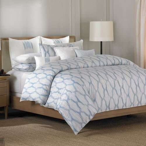 Barbara Barry Alpen Queen Comforter Delft Blue Ikat with Shams