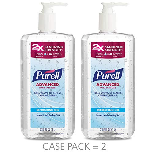PURELL Advanced Hand Sanitizer Refreshing Gel, Clean Scent, 1 Liter Pump Bottle (Pack of 2) - 3080-02-EC ()