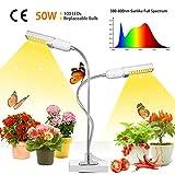 50W LED Grow Light,Growstar Super Bright 100 LEDs Sunlike Full Spectrum Grow Lamp,Dual
