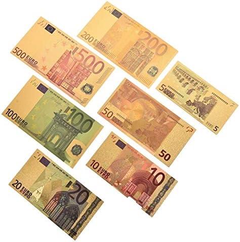 ZYZRYP ゴールドアンティークメッキ7PCS記念ノート紙幣5 10 20 50 100 200 500 EURフェイクマネーホームデコレーションアンティークお土産 使いやすい (色 : A)