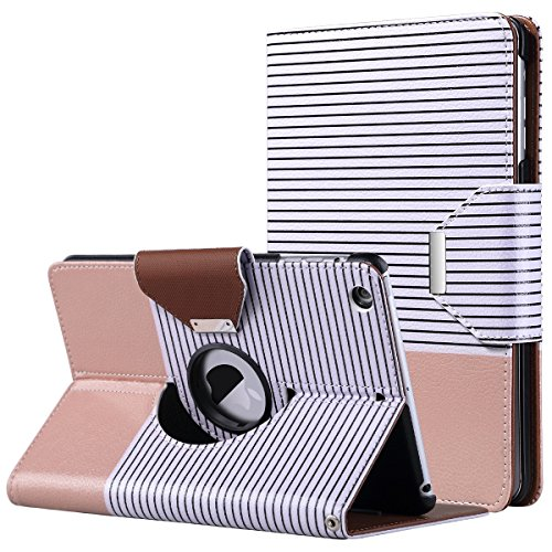 iPad Mini Case,iPad Mini 2 Case,iPad Mini 3 Case,ULAK 360 Degree Rotating Smart Synthetic Leather Stand Case Cover for Apple iPad Mini 1/2/3 with Auto Sleep/Wake Function (Rose Gold/Black Stripe)