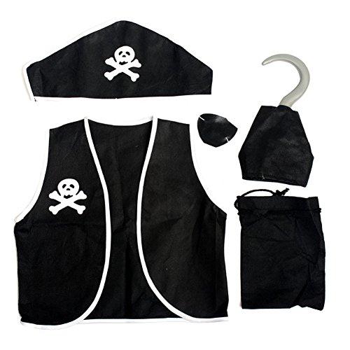 Lisli Kids Boys Pirate Costume Set Swashbuckler Halloween Cosplay Fancy Dress Suit (Pirate Halloween Costume Outfit)