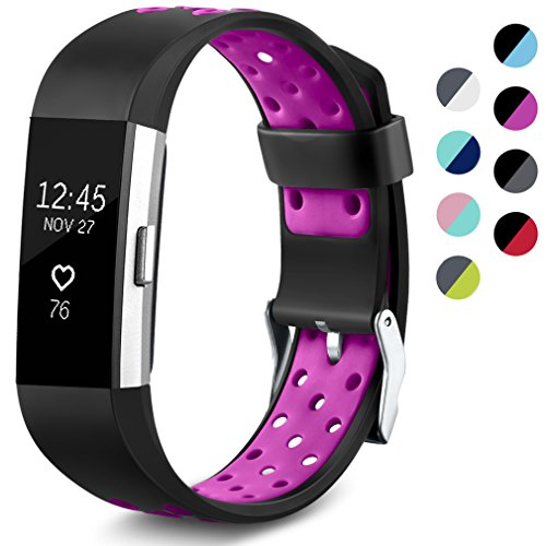 Maledan Replacement Sport Bands with Air Holes Compatible for Fitbit Charge 2, Black/Purple, Large