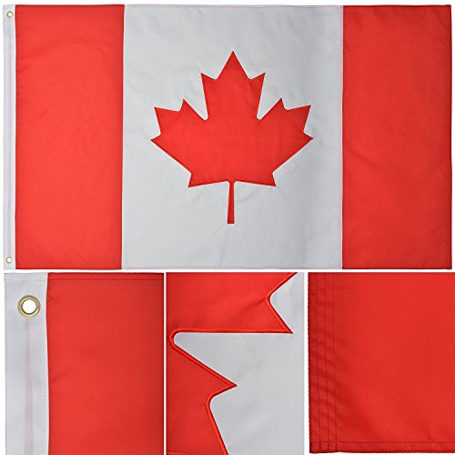 - ALBATROS 3 ft x 5 ft Embroidered Sewn Canada Canadian Nylon Premium Flag Banner Grommets for Home and Parades, Official Party, All Weather Indoors Outdoors