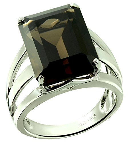 RB Gems Sterling Silver 925 STATEMENT Ring GENUINE GEMSTONE Octagon 16x12 mm with Rhodium-Plated Finish (9, smoky-quartz)