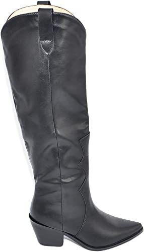 Stivali texani alti neri donna made in italy sotto il ginocchio