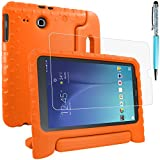 Protective Case for Samsung Galaxy Tab E 9.6 SM-T560 SM-T561 with Screen Protector and Stylus, AFUNTA Anti-scratch Convertible Handle Stand EVA Case for Tablet 9.6 Inch - Orange