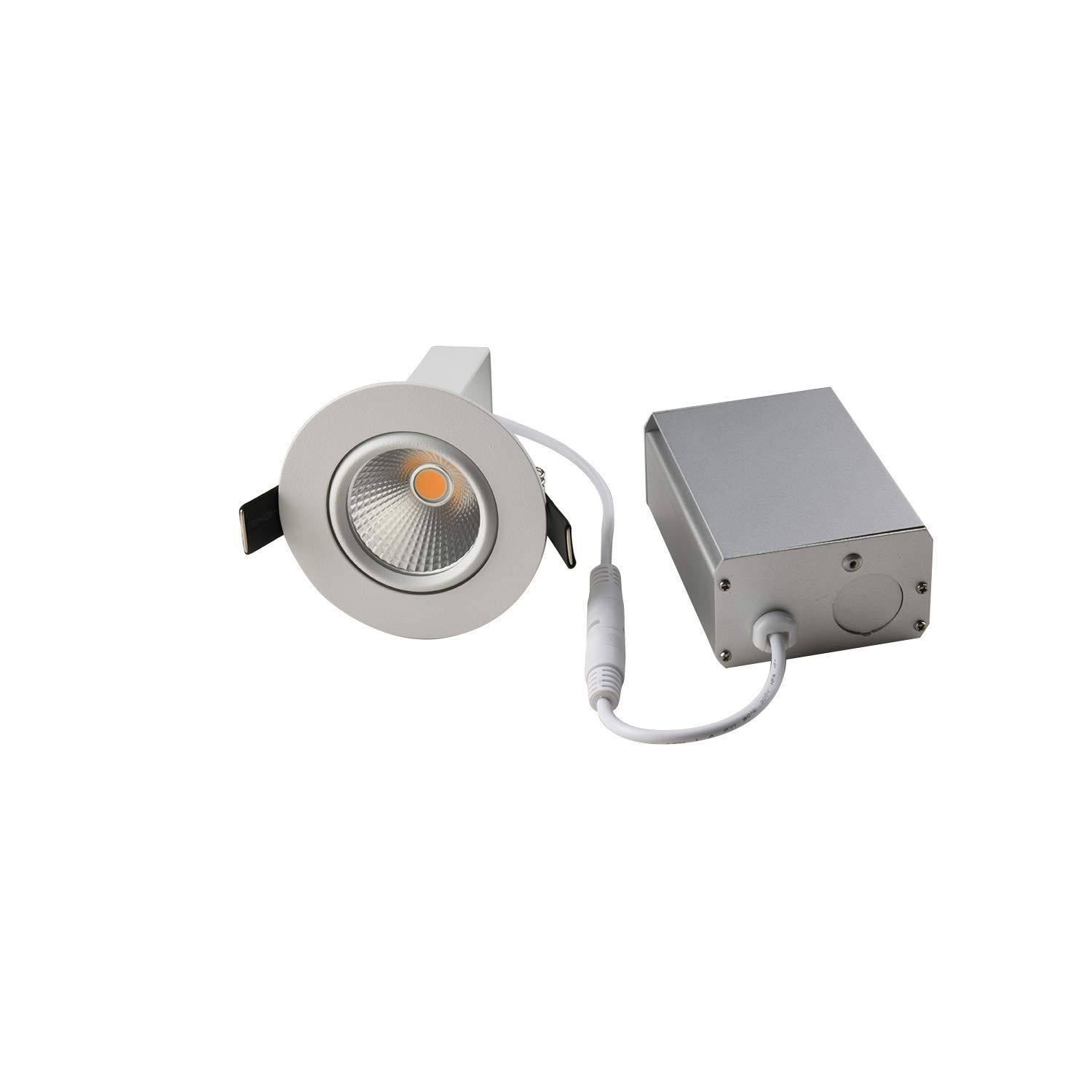 OBSESS Dimmable Recessed Ceiling Light with Junction Box, Air Tight IC Rated 8W COB LED Recessed Downlight Spotlight, White 3000K Aluminum