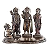 "Top Collection 10.5"" H 7.5"" H Rama, Sita and Lakshmana Worshipped by Hanuman Statue in Cold Cast Bronze"