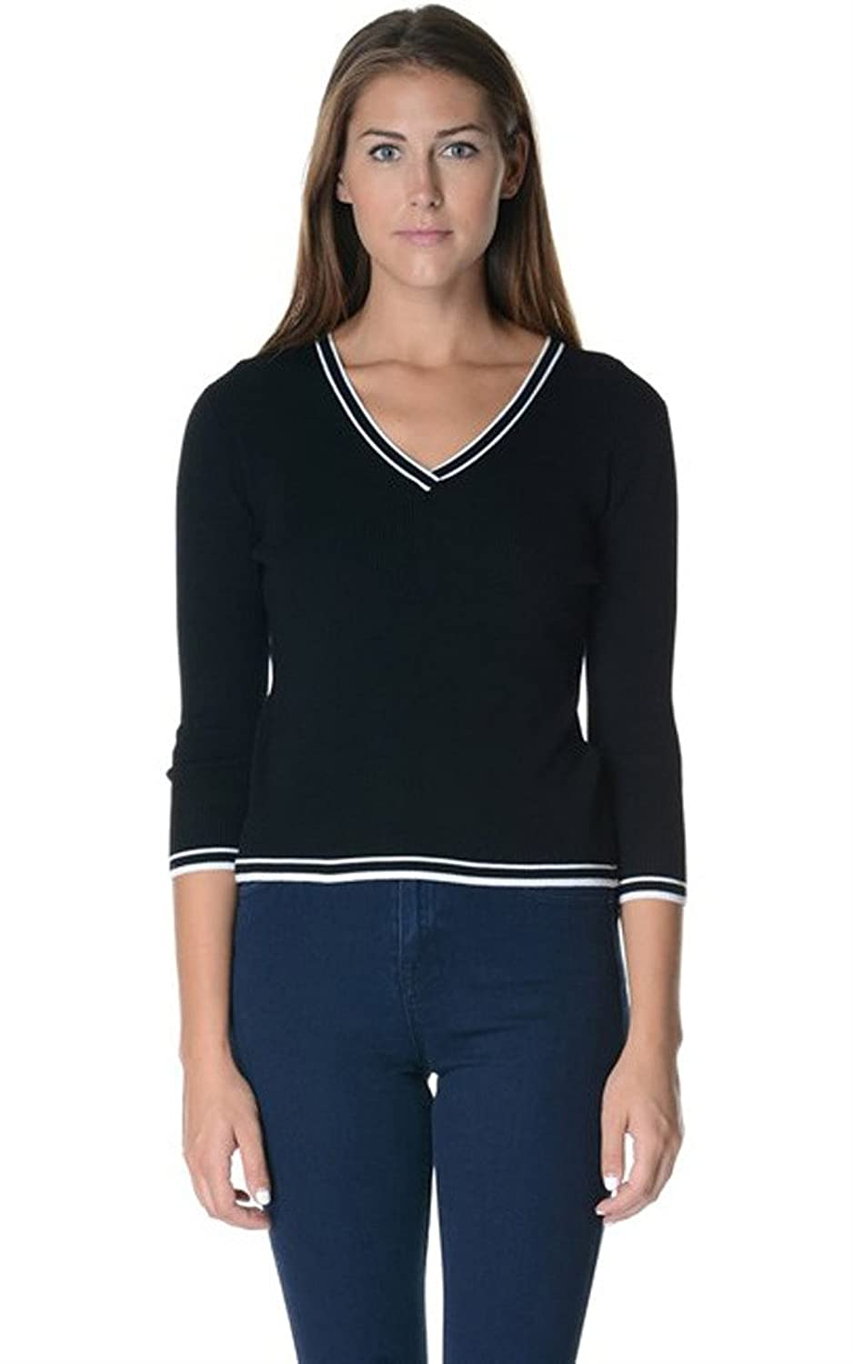 Bloom Women's Three Quarter Sleeve V-Neck Knit Pullover Sweater