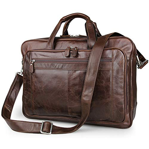 Men Genuine Leather 17'' Laptop Briefcase Work Travel Suitcase