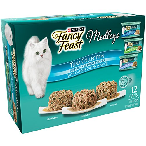 (Purina Fancy Feast Wet Cat Food Variety Pack; Medleys Tuna Collection With Garden Greens in Sauce - (12) 3 oz. Cans )