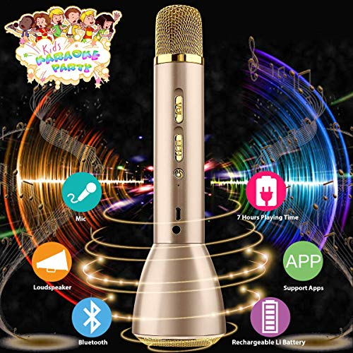 Wireless Kids Karaoke Microphone with Speaker, Portable Bluetooth Microphone Child Karaoke Mic Machine for Kids Adult Singing Party Music Playing, Support Android iOS Smartphone PC(Gold) ()