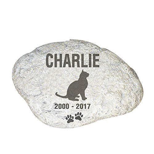 "GiftsForYouNow Personalized Cat Memorial Garden Stone, 11"" by 8"", Lightweight Resin, Hollow, Pet Grave Marker"