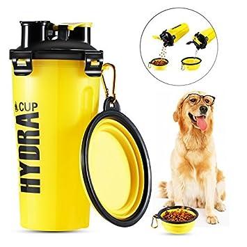 Hilai - Botella de agua para mascotas, 2 en 1, botella de hidratación doble