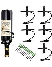 6 Pack of Wall Mounted Wine Racks - Red Wine Bottle Display Holder with Screws, Metal Hanging Wine Rack Organizer