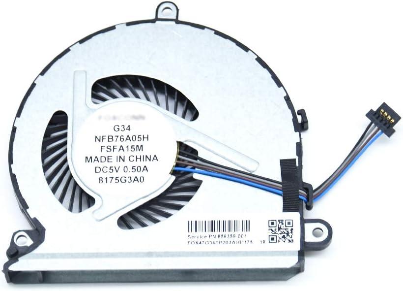 BAY Direct Replacement CPU Cooling Fan 4-Pin 4-Wire for HP Pavilion 15-AU 15-AU010WM 15-AU020WM 15-AU030WM Series Compatible Part Number 856359-001 859633-001