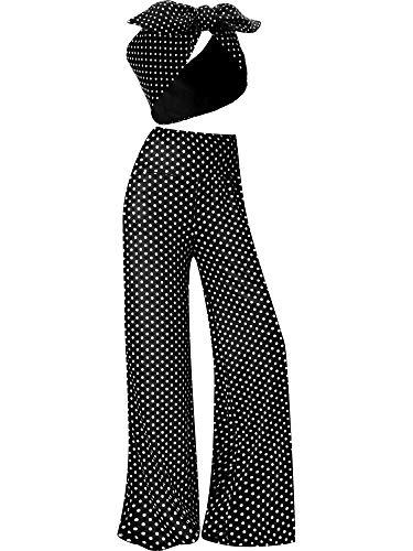 Palazzo Pant Dot Printed Stretchy Lounge Pants High Waist Wide Leg Casual Pant with Dots Bow Headband (XXL)