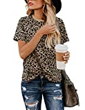 BMJL Women's Casual Cute Shirts Leopard Print Tops Basic Short Sleeve Soft Blouse(M,Leopard): more info