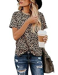 Blooming Jelly Women's Leopard Print Top Cute Short Sleeve Crew Neck Cheetah T Shirt Tee