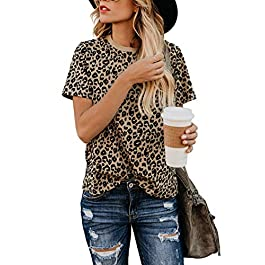 BMJL Women's Casual Cute Shirts Leopard Print Tops Basic Short Sleeve Soft Blouse
