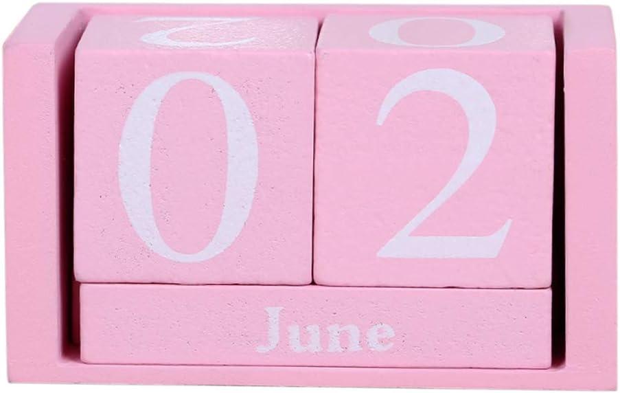 Vpang Vintage Wood Perpetual Calendar Shabby Chic Blocks Desktop Calendar Rustic Wooden Cubes Calendar Home Office Decoration (Pink)