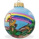 BestPysanky 4'' Lady Monkey Under Rainbow, Animal Glass Ball Christmas Ornament