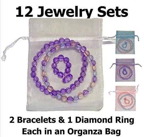 Sweet Bracelet Diamonds (So Sweet Girls Dress Up Diamond Ring & 2 Bracelets, Each Girl's Jewelry Set in an Organza Bag (12 Sets))