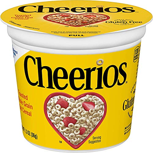 Cheerios Cereal Cup, Gluten Free Cereal, 1.3 oz (Pack of 12) (1.3 Ounce (Pack of 12) (2 pack of 12))