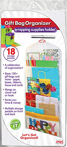 Gift Bag Organizer - Storage for Gift Bags, Bows, Ribbon and More - Organize Your Closet with this Hanging Bag & Box to Have Organization with Clear Pockets by Jokari