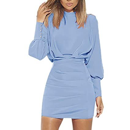JYJM ? Mode Frauen Sexy O-Neck Langarm Reine Farbe Backless Gesäß Kleid Damen Langarmshirt Love New O-Neck Top Damen Lace up