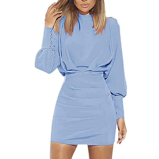 5482a8775c7 Peacur Women Long Sleeve Dresses Fashion Sexy O-Neck Backless Hip Solid  Color Casual Mini