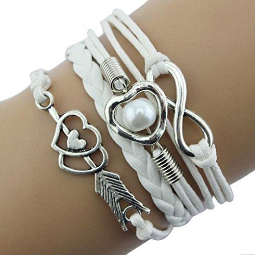 Missli Bracelet,Diomedes Newest 1PC Infinity Love Heart Imitation Pearl Friendship Antique Leather Charm Bracelet Summer Bracelet (White)