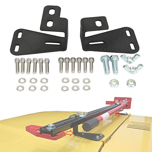 ALAVENTE Hi-Lift Jack Mount Hinge Mounting Hood Bracket for JEEP Wrangler CJ 1944-1986 / YJ 1987-1995 / TJ 1997-2006 (Pair, Black) by ALAVENTE