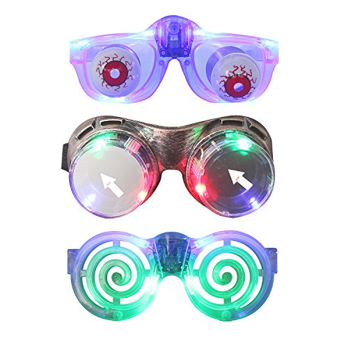 (DX DA XIN Slinky Glasses, LED Gag Joke Glasses Light up Novelty Disguise Eyeball-glasses/Toys for Kids (3 Pack))