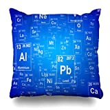 Decor Champ Throw Pillow Covers Periodic Table Lab Science Home Decor Sofa Pillowcase Square Size 18 x 18 Inches Cushion Cases