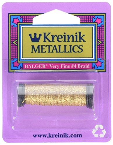 Gold Flat Braid - Kreinik No.4 Very Fine Metallic Craft Braid, 12-Yard, Vintage Gold