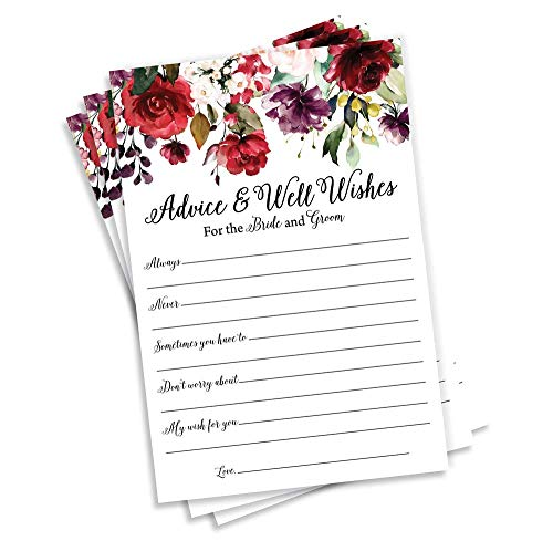 50 Burgundy Watercolor Floral Wishes for The Bride and Groom - (50-Cards) Wedding Advice and Well Wishes Guest Book Alternative Rustic Vintage