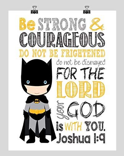 Batman Superhero Inspirational Nursery Decor Print - Be Strong & Courageous Joshua -